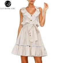 Lily Rosie Lány V nyakú pamut rövid nyári ruha 2018 Íj Élet Vintage Fél ruha csíkos Alkalmi Elegáns csipke ruha Vestidos