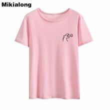 Mikialong Dinosaur Kawaii Pocket Tshirt 100%cotton T-shirt Tumblr Tee Shirt Femme Tops