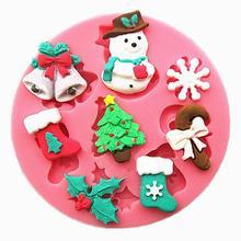 Снеговик снежинки елки чулки колокола шоколад Партия торт украшения инструменты DIY выпечки фондант силиконовые mold T0130