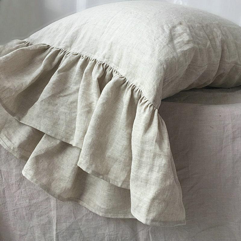 20 X 36 white color King linen pillow sham with mermaid long ruffle 100/% linen