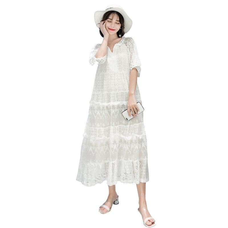 Pregnant Lace Summer Outdoor Dress Maternity Short Sleeve Chiffon Long Dresses Women Soft Round Short Sleeve Sundress AA60268