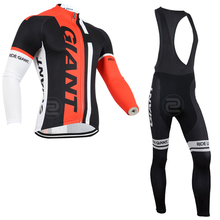 2016 New GIANT Men's cycling long sleeve jersey bib pants sets MTB Racing ropa ciclismo hombre Pro cycling wear Sport pro team