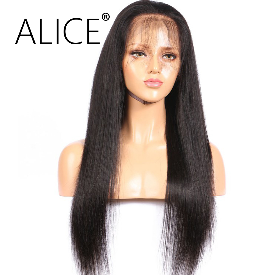 ALICE 150 Density Full Lace Human Hair Wigs With Baby Hair 8-24 Inch Straight Brazilian Remy Lace Wigs Bleached Knots