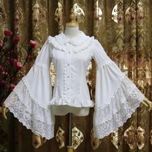 Роскошные Лолита Стиль девушки Chiffion рубашка белая Кружево Flare рукавом Лолита Блузка Для женщин Базовая Блузка