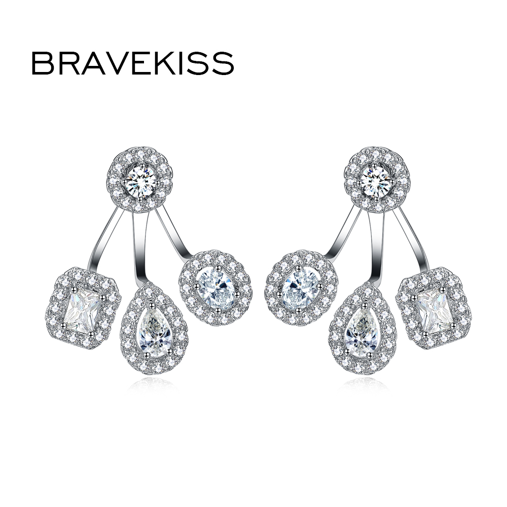 BRAVEKISS Bride Piercing Earrings Jackets Wedding Cubic Zirconia Earrings For Women Ladies Jewellery Bijoux boucl BUE0263