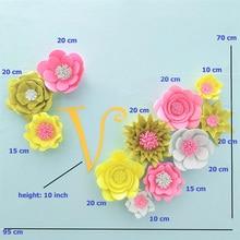 2019 Giant Glittered Foam Flowers Handmade Mix Large Rose Set For Nursery Wedding Birthday Backdrop Home Wall Decoration