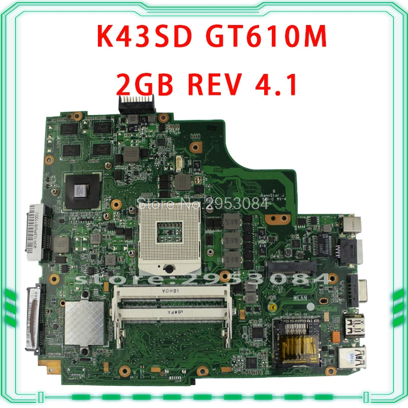 все цены на K43SD motherboard For Asus K43SD A43S K43S Laptop motherboard REV:4.1 + 8 piece video memory+2 DDR3 slot+USB3 free shipping S-4 онлайн