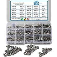 500pcs 304 Stainless Steel M3 M4 M5 Hexagon Socket Head Socket Screw Bolt Nut Screws for El