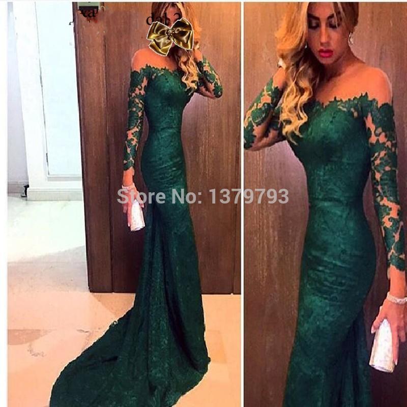 uk availability 1662b 1c092 Verde smeraldo abiti da sera sexy pura del merletto di ...