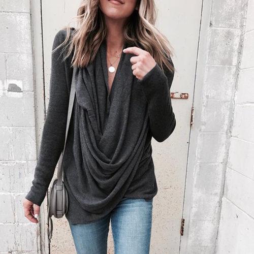 New 2018 Popular Women Irregular Winter Loose Long Sleeve Cotton Casual T Shirt Tunic Top  T-Shirts