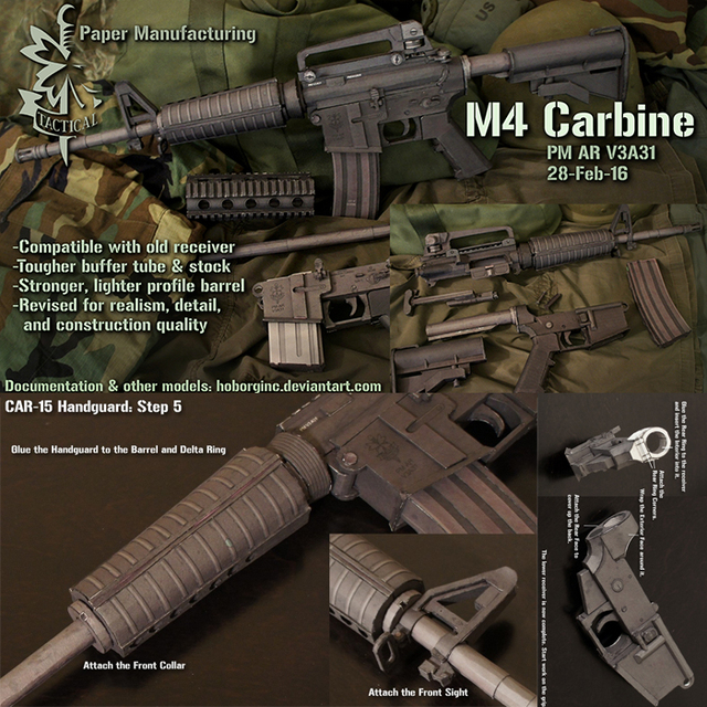 m4 carbine gun handmade diy gun paper model 1 1 scale in model