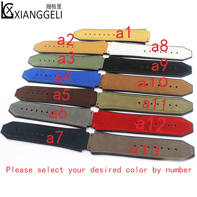 Watch Accessories Crazy Horse Leather Strap Folding Buckle Rubber Strap19mmx25mmFor Hublot Big Bang Women's and Men's Watch Band tjw 2018 primary zone of environmental protection leather bamboo watch ebony watch crazy horse leather strap