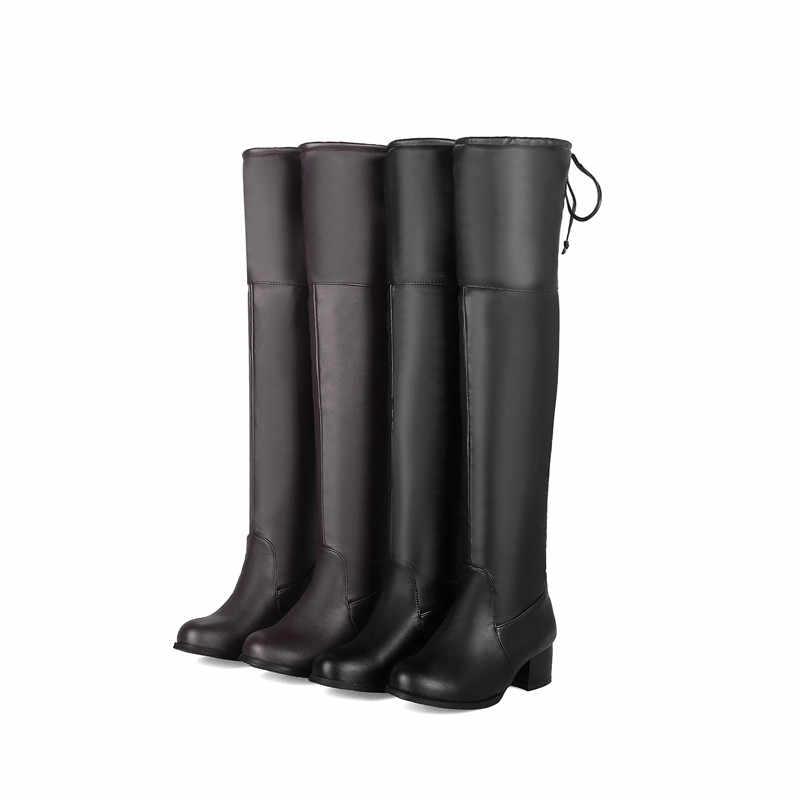 MORAZORA 2020 ขายร้อนใหม่รองเท้าผู้หญิงต้นขาสูงกว่าเข่ารองเท้าผู้หญิงรอบ toe ฤดูใบไม้ร่วงฤดูหนาวรองเท้าส้นสูงรองเท้าสีดำ