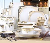 56 шт. Европейский стиль костяного фарфора посуда керамика чаши таблички комплект набор посуды из фарфора свадебный подарок