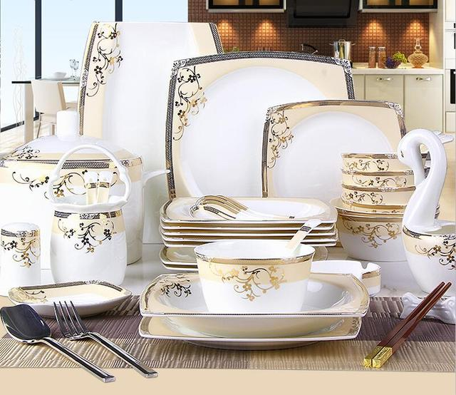 56 Pcs European style bone china tableware Ceramic bowls plates set Porcelain dinnerware set Wedding Gift & 56 Pcs European style bone china tableware Ceramic bowls plates set ...