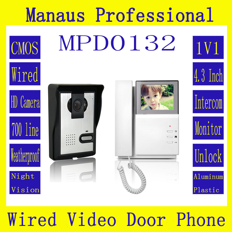 4.3 inch color video door phone for apartment video door phone intercom system Wired Monitor 1V1 Remote Smarthome Building D132b chuangkesafe shipping v70c l multi apartments building video intercom system apartment audio door phone