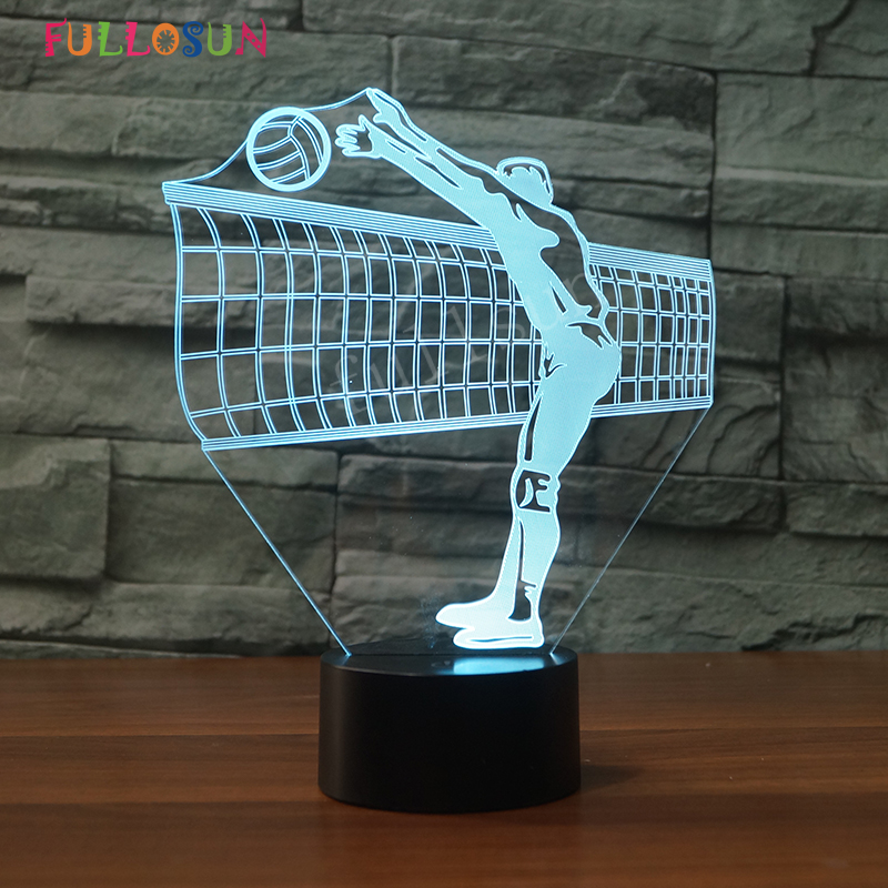 3D Play Volleyball Night Lights 7 Colors LED Night Lamp for Kids Bedroom Decoration Gift стоимость