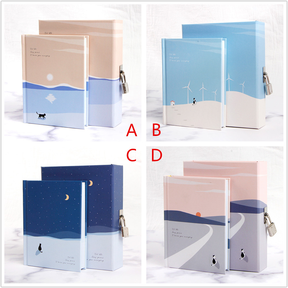 """Image 2 - """"Cats Journey"""" Diary with Lock Notebook Cute Functional Planner Lock Book Dairy Journal Stationery Gift Box Package-in Notebooks from Office & School Supplies"""