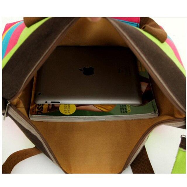 Women Canvas Messenger Bag Female Shoulder Bags Ladies Beach Top-Handle Bags Stripe Tote Shopping Bag 1