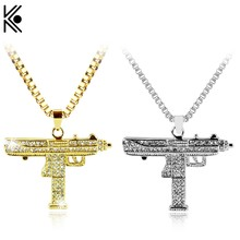 Gold Necklace Uzi Gun Pendant Necklace Men Alloy Full Crystal Bling Submachine Chain Hip Hop Cyclist Accessories Male Necklace(China)