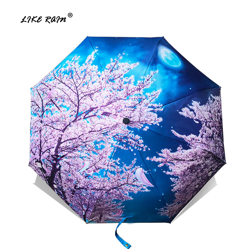 LIKE RAIN Չինական Art Sakura Umbrellas Female Van Gogh Painting Folding Umbrella Rain Rain Women Windproof Anti-UV Sun Parasol YHS03