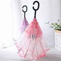 Korean Umbrella Girl Transparent Folding Pink Inverted Reversable Unique Umbrella Sakura Art Umberella Novelty Items Umberella