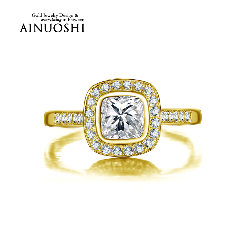 ainuoshi 10k solid yellow gold wedding rings hot sale sona simulated diamond engagement halo band top - Wedding Rings On Sale