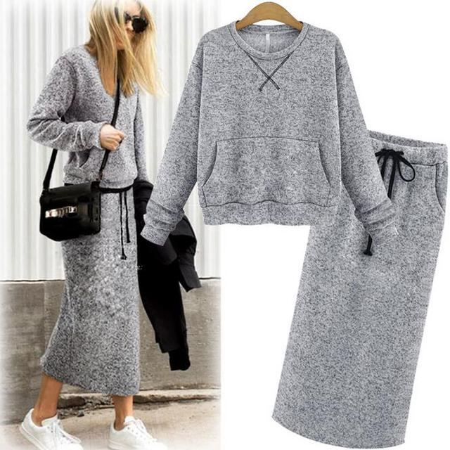 Adogirl Sweater Skirt Set Spring Autumn Elegant Knit Suit Women Long Sleeve Sweaters Top With Maxi Skirts Sets Blue Gray Color