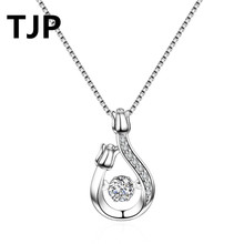 TJP Unique Silver Snake Design Women Pendant Necklace Stones 925 Sterling Jewelry For Lady Girl Party Accessory