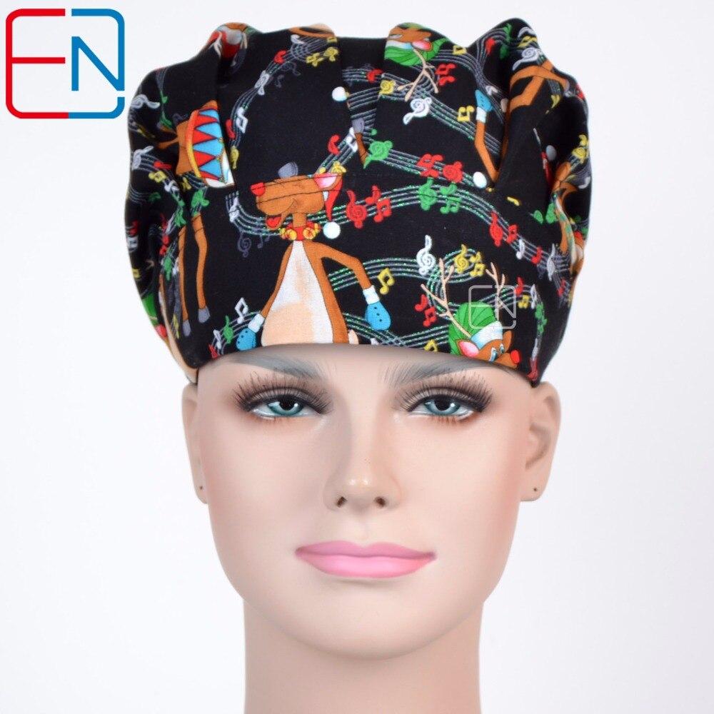 Hennar Surgical Scrub Caps Bouffant Caps Dancing Deer Cotton Scrub Hats For Women Hospital Medical Tieback Elastic Surgical Caps