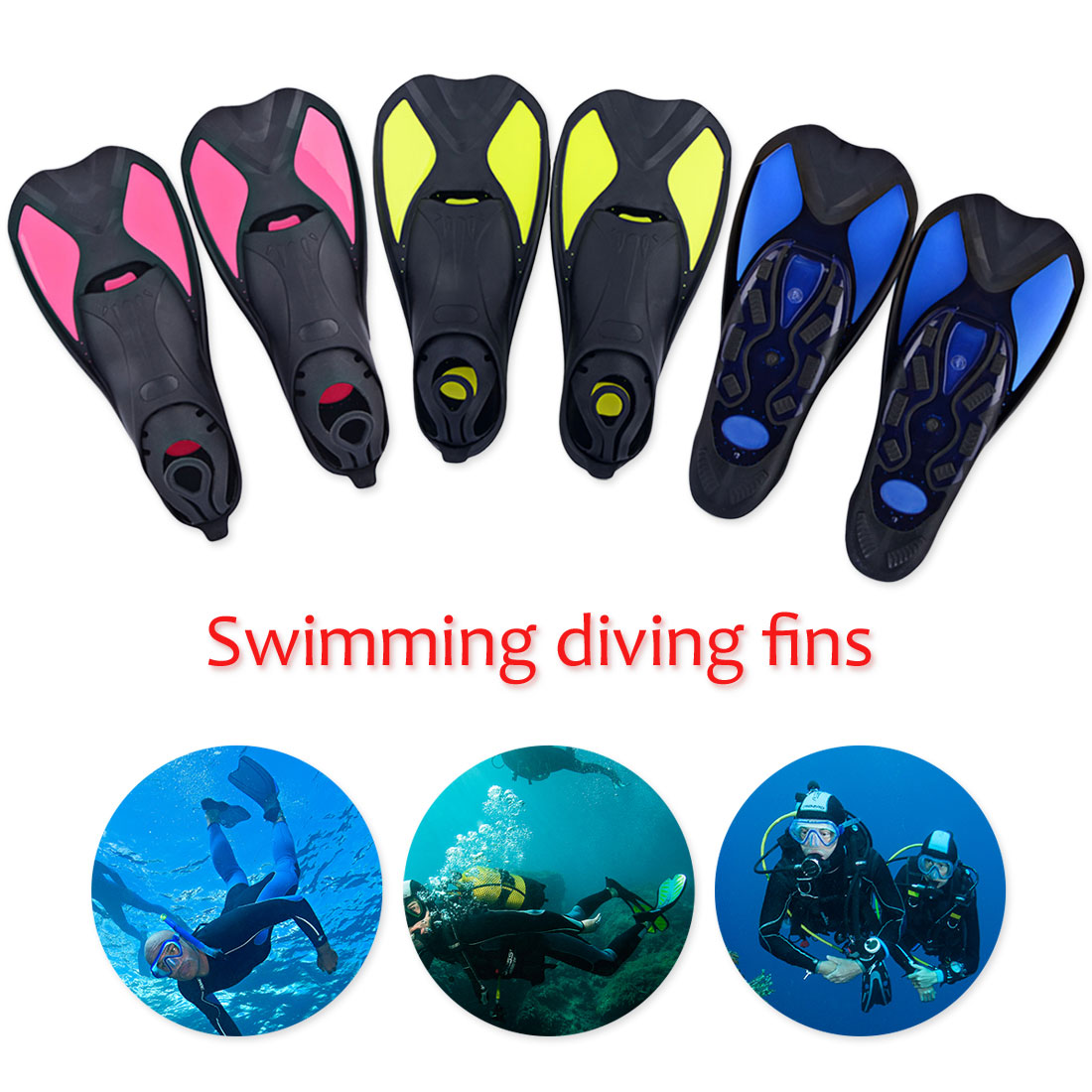 1 Pair Snorkeling Foot Flipper Diving Swimming Fins Flexible Comfort Adult Kids Short Frog Shoes Beginner Swimming Equipment