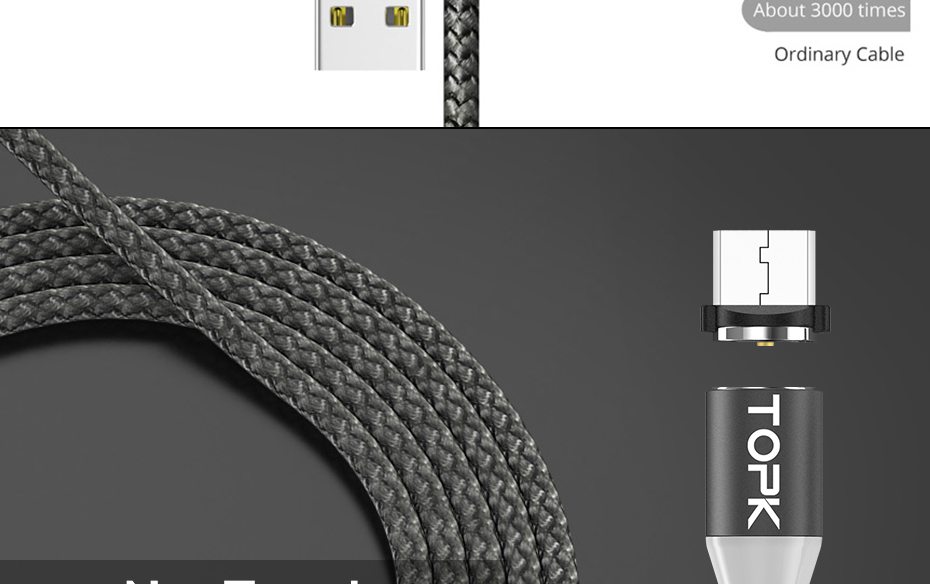 TOPK AM17 1M LED Magnetic Micro Type C USB Cable For Mobile Phones 29