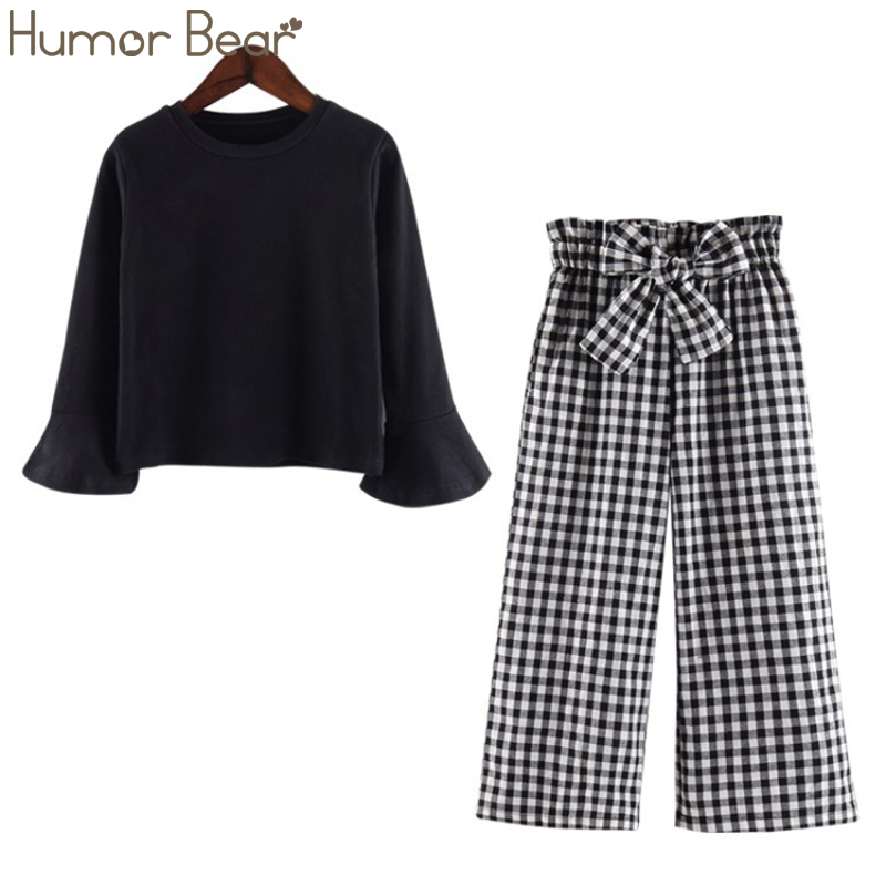 Humor Bear Autumn Spring 2019 New Fashion Girls Clothing Suit Bell Long-Sleeved + BowPlaid Wide Leg Pants 2pcs Children Clothing(China)