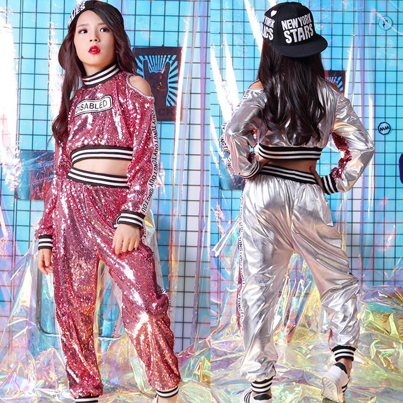 57e84d15a15d Kids Pink Sequined Hip Hop Clothing Girls Tops Pants Jazz Dance wear  Costumes Concert Ballroom Carnival Party Dancing Outfits