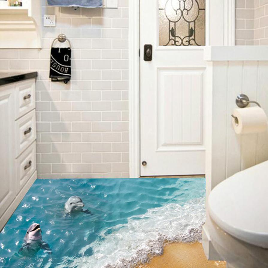Waterproof Mildewproof Blue Sea Dolphin Shower Curtain Bathroom Decor Bath Digital Painting With Hooks Polyester