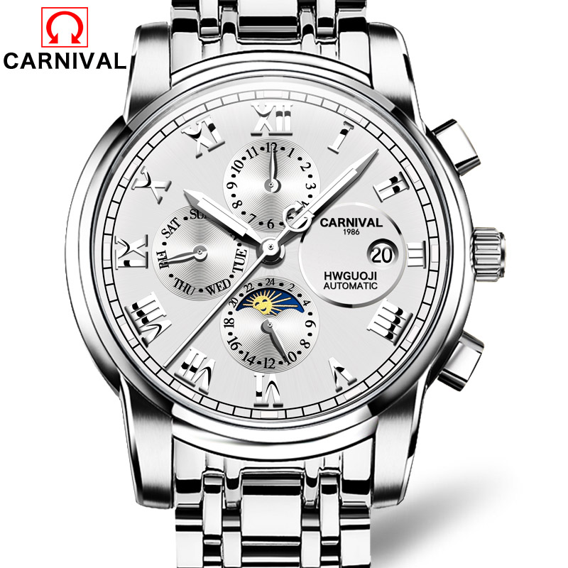 Men Watch Top Brand Luxury Automatic Mechanical Watch Men Sport Waterproof Luminous Moon Prase Watch Relogio