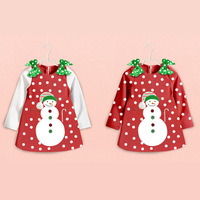2017 Newest Fashion Baby Girl Clothes Toddler Infant Kids Christmas Snowman Party Polka Dot Dress Long
