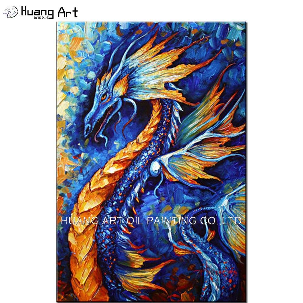 Compétence peintre peint à la main Dragon bleu et jaune peinture à l'huile sur toile couteau peinture de bon augure animaux photos pour Art mural