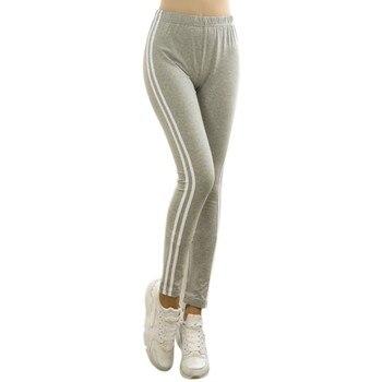 Cotton Blended Fabric Casual Side Striped Legging Black Grey Mid Waist Leggins Jeggings Legins 2018 Slim High Quality Pants Лосины