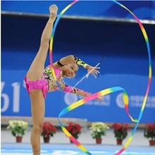4M Dance Ribbon Gym Rhythmic Art Gymnastic Ballet Streamer Twirling Rod Colorful Polyester Ribbons 1PC