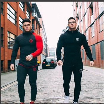 2018 New Fashion Winter Men Set Sporting Suit Hooded Jacket+Pant Sportswear Thick Sweatsuit Set Tracksuit For Men M-XXL