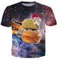 Harajuku women men 3d galaxy print t shirt space Christmas Hamburger Taco cat printed Tshirts t-shirts cartoon tops tees