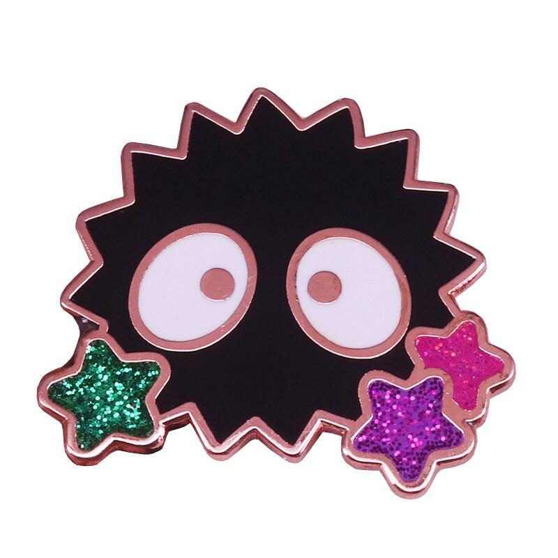 Soot sprite enamel pin glitter rainbow stars brooch Spirited Away badge anime jewelry cute ghost pins Halloween accessory gift(China)