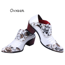 OVXUAN Men Skull Punk Western Cowboy Boots Mens Fashion Designer 6CM High Heel Wedge Leather Shoes White Pointed Ankle Boots Men