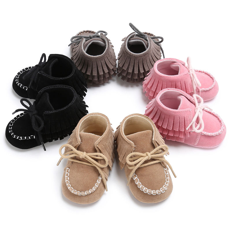 Cute Infant Baby Boy Girl Pre-Walker Soft Sole Crib Shoes Tassel Newborn Sneakers First Walkers Pink Black Gray Khaki 0-18M