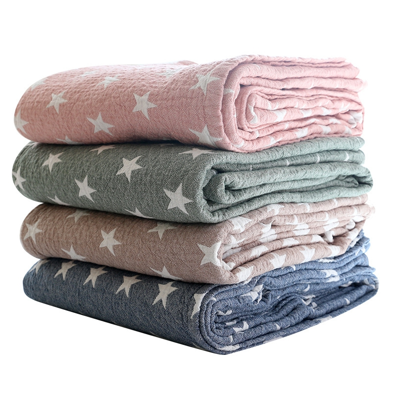 Muslin Cotton Baby Blankets Swaddles Newborn Wrap Stars Gauze Children Cover Quilt Infant Kids Playing Blanket Size 150*200cm free shipping infant children cartoon thick coral cashmere blankets baby nap blanket baby quilt size is 110 135 cm t01 page 3