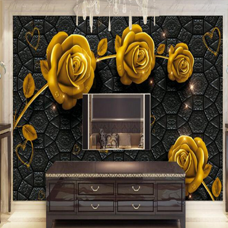 Gold Wallpaper Wall Mural 3d Luxury Embossed Golden Rose Non Woven Thicken 3 d Wallpaper Living Room Study Kitchen Wall PapersGold Wallpaper Wall Mural 3d Luxury Embossed Golden Rose Non Woven Thicken 3 d Wallpaper Living Room Study Kitchen Wall Papers