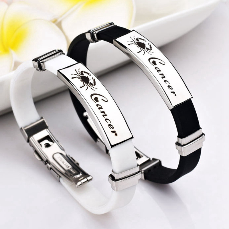 2018 Fashion Twelve Constellations Silicone Stainless Steel Bracelet Couple Lovers Women Bracelets & Bangles Gifts Men Jewelry