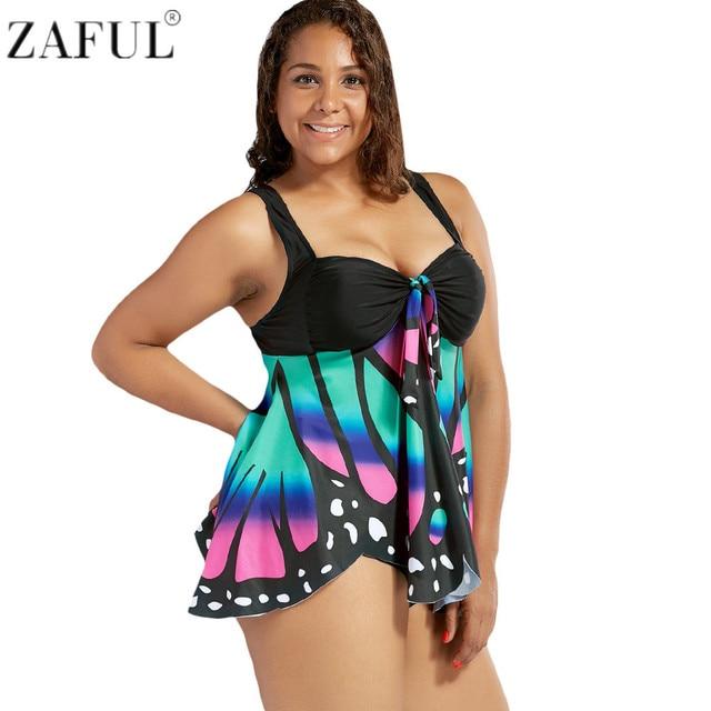 1e2555c052c2c ZAFUL Plus Size Swimwear Women Butterfly Print Blouson Tankini HighWaist  Graphic FrontKnot Women s Swimsuit Padded Swimming Suit