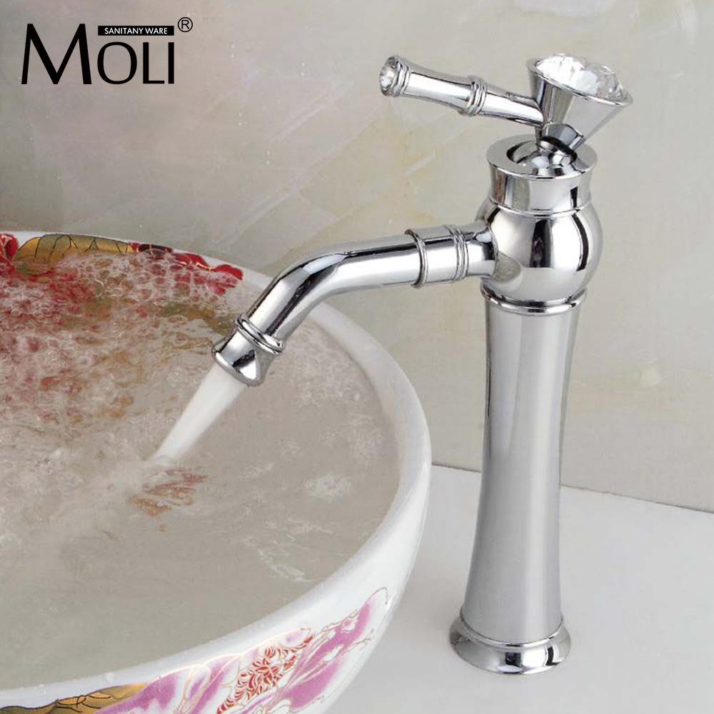 Ванная комната смесители Кристалл Ручки Высокий кран для ванной бассейна Раковина Chrome Одной ручкой водопроводной воды